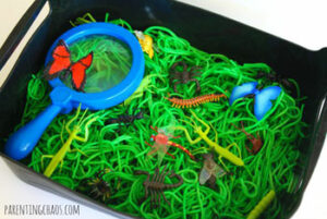 Creepy Crawly Bugs with Dyed Pasta Sensory Bin