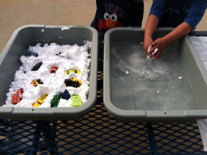 Shaving Cream Car Wash Sensory Bins