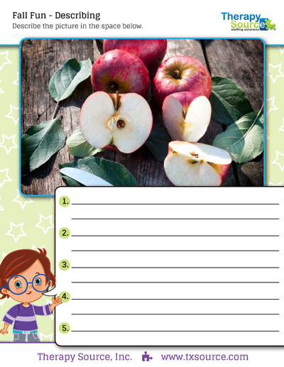 Free Speech Therapy Activity - Describing Fall Photos